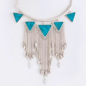 Silver turquoise stones triangle tassel necklace